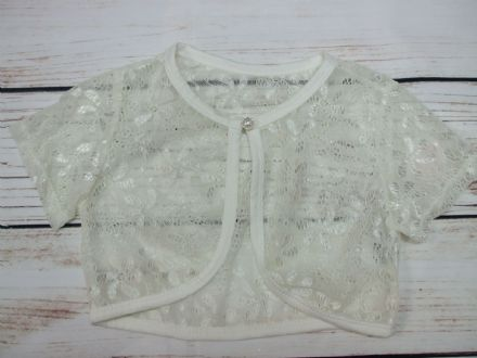 Girls Cream Lace Short Sleeve Bolero